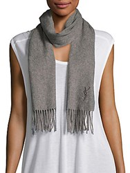 Yves Saint Laurent Wool And Cashmere Scarf Light Grey