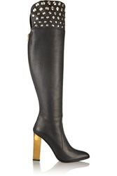 Rene Caovilla Embellished Leather Thigh Boots Black