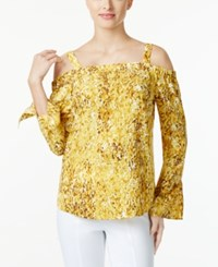 Thalia Sodi Printed Off The Shoulder Blouse Only At Macy's Yellow Combo