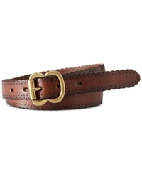 Fossil Leather Scallop Jean Belt Brown