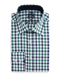 English Laundry Gingham Check Dress Shirt Navy Green
