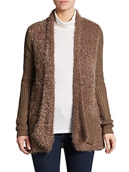 Saks Fifth Avenue Blue Mixed Media Textured Open Cardigan Taupe