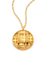Nest Cage Disc Long Pendant Necklace Gold
