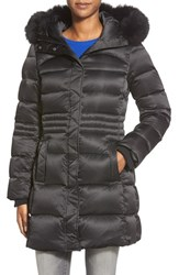 Sachi Women's Down Coat With Genuine Fox Fur Trim Black