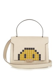 Anya Hindmarch Bathurst Pixel Smiley Small Leather Shoulder Bag Grey Multi