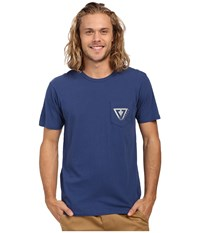 Vissla Established Vintage Wash Pocket Tee Light Navy Men's Short Sleeve Pullover Blue