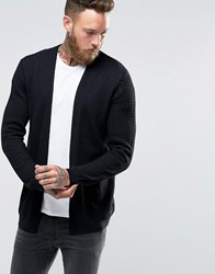 Asos Cable Knit Cardigan With Rib Detail Black