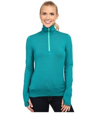 Icebreaker Tech Top Long Sleeve Half Zip Nautical Patina Women's Long Sleeve Pullover Blue