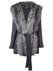 Salvatore Ferragamo Fur Panel Cardigan Grey