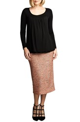 Maternal America Belly Support Maternity Pencil Skirt Pink Boucle