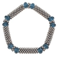 John Lewis Textured Glass And Bead Stretch Bracelet Silver Navy