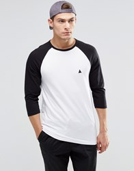 Asos Muscle 3 4 Sleeve T Shirt With Contrast Raglan Sleeves And Logo Whiteblack