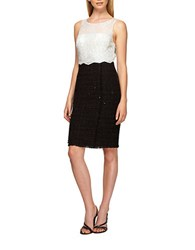 Kay Unger Embroidered Lace Sheath Dress Black White
