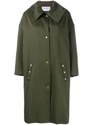 Osman Poppy Embroidered Trench Coat Green