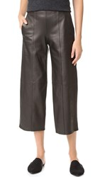 Vince Leather Front Seam Culottes Black