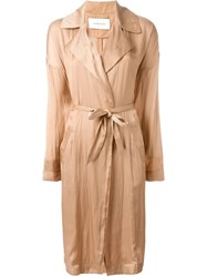 Cedric Charlier Long Duster Coat Pink And Purple
