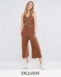 House Of Sunny Cropped Wide Leg Trousers Co Ord Chocolate Brown