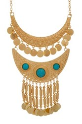 Natasha Accessories Metal Bib Necklace Blue