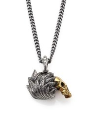 King Baby Studio Alloy Skull With Silver Raven Wing Pendant Necklace Silver Gold