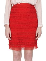 Givenchy Ruched Tulle Stripe Pencil Skirt Red