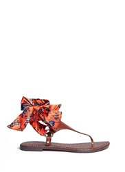Sam Edelman 'Giliana' Floral Print Satin Tie Leather Thong Sandals Multi Colour