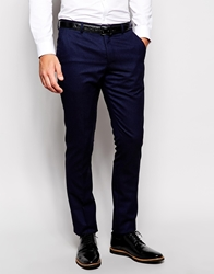 Vito Wool Suit Trousers In Slim Fit Navy