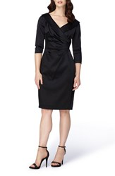 Tahari Women's Portrait Collar Satin Sheath Dress