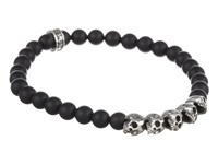 King Baby Studio 6Mm Onyx Bead Bracelet W 5 Skulls Together Black Bracelet