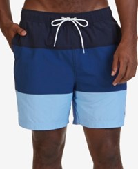 Nautica Men's Big And Tall Quick Dry Colorblocked Swim Trunks Navy