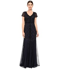 Adrianna Papell Short Sleeve V Neck Beaded Godet Gown Navy Women's Dress