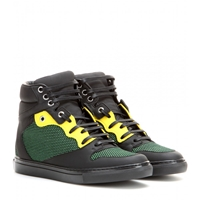 Balenciaga Leather High Top Sneakers Green Black Yellow