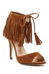 Chase And Chloe Edward Fringe High Heel Sandal Brown