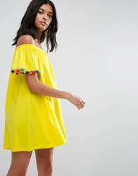 Asos Off Shoulder Swing Sundress With Bright Pom Poms Yellow