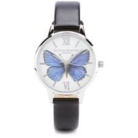 Olivia Burton Woodland Vegan Friendly Butterfly Watch Black And Silver