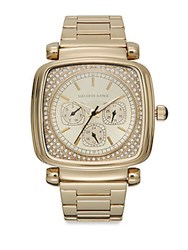 Saks Fifth Avenue Square Goldtone Stainless Steel Bracelet Watch