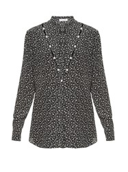 Altuzarra Amanda Button Detail Floral Print Silk Blouse Black White