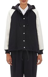 Comme Des Garcons Girl Women's Wool Blend Hooded Varsity Jacket Black