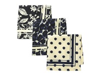 Scotch And Soda Classic Printed Handkerchief Set Of 3 Navy White Scarves Blue