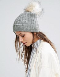Pieces Varen Pom Beanie Hat Light Grey