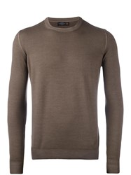 Corneliani Crew Neck Knitted Sweater Nude Neutrals