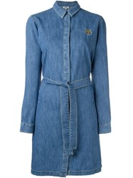 Kenzo 'Mini Tiger' Denim Shirt Dress Blue