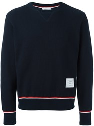 Thom Browne Ribbed Knit Long Sleeve Sweater Blue