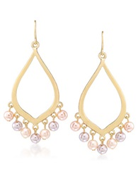 Carolee Peach Blossom Goldtone Faux Pearl Earrings Pink Gold