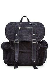Balmain Suede Backpack Blue