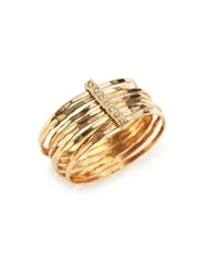 Jacquie Aiche Diamond And 14K Yellow Gold Hammered Bar Ring
