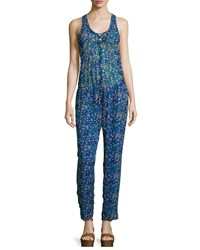 Etoile Isabel Marant Salina Floral Silk Jumpsuit Electric Blue