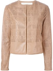 Drome Laser Cut Leather Jacket Nude And Neutrals