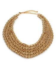 Kenneth Jay Lane Multi Row Link Bib Necklace Gold