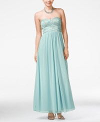 Speechless Juniors' Strapless Lace Embellished Gown Antique Blue