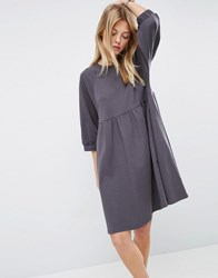 Asos Cotton Smock Dress With Elastic Cuff Detail Grey
